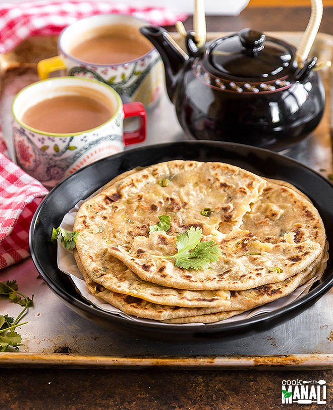 Aloo parantha with yoghurt and pickle